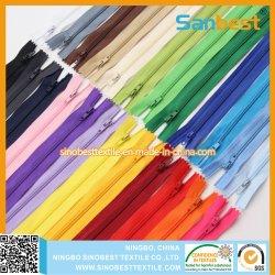 100% Alta calidad de Nylon color cremallera para dama ropa