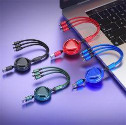 Logotipo personalizado tramo retráctil 3 en 1 USB Data Cable cargador mejor regalo para Navidad