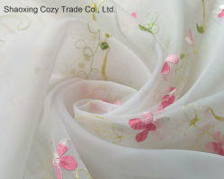 Flower Desgin Voile Bordados Tecido de Cortina