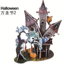 DIY Castillo Hallowmas tridimensional de la casa de Halloween rompecabezas Toy
