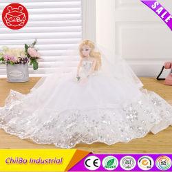 Robe de mariage fillette robes de mariée poupée en plastique comme cadeau