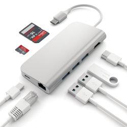 HDMI 4Kのイーサネット充満ポートSD/Microカード読取り装置および3つのUSB 3.0ポートへのMacBookのタイプCのハブのための1つのアルミニウムマルチポートのアダプターのコンボのハブに付きUSB Cのハブ8つ