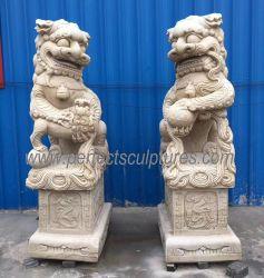 Tallado en mármol, piedra tallada estatua Animal chino antiguo perro de Pepe León escultura para la puerta custodiaban (SY-D253)