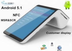 PT7003 Konvientes POS-Zahlungsgerät mit Wireless Card Reader EMV NFC Bluetooth Printer WiFi / 4G Touch Screen und Wireless Barcode Scanner