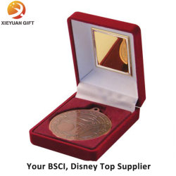 Caja de terciopelo de medalla para impugnar una moneda para el BADGE