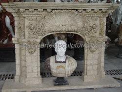Fabuleux cheminée de style Baroque rococo de calcaire pour l'intérieur de Mantel (QY-LS576)