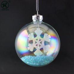 Синий Рождество стеклянная колба с снежинка украшения