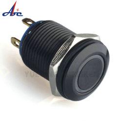 12mm 一時的 LED ライト付きプッシュボタンスイッチ、黒ハウジング