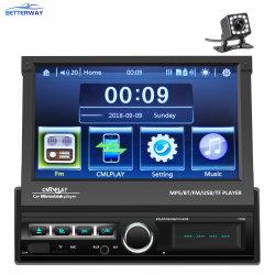 BACCANO Android del giocatore 1 dell'autoradio di Betterway 7 giocatore ritrattabile di Bluetooth DVD MP5 dello schermo di tocco di pollice con il giocatore dell'automobile della macchina fotografica TF/FM/USB/Aux di retrovisione