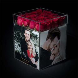 Longue durée de vie a augmenté en acrylique transparent de fleurs photo Box
