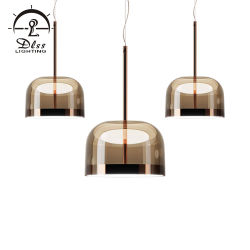 Elegante cúpula de cristal de alta gama LED lámpara colgante