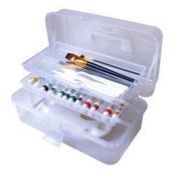 21803 Arte clara e organizador de embarcações tratadas portátil de armazenamento de dados do organizador Caixa com 2 tabuleiros