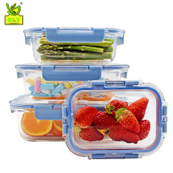 Pielock 4 piezas Conjunto contenedor seguro horno cocina hermético bote de cristal conjunto de almacenamiento de alimentos
