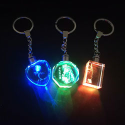 Custom рекламных подарков светодиод мигает индикатор цепочки ключей Crystal цепочки ключей