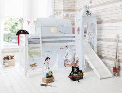솔리드파인 우드 Midsleeper Cabin Bunk Bed Loft Bed with 슬라이드 앤 텐트 키즈