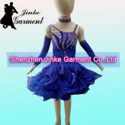 ラテン系の舞踏室Danceのための青いKids Dancewear