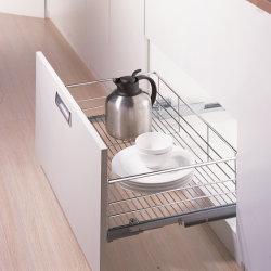 Armoire de base de stockage de cuisine et de bonne qualité et doux la fermeture de placage au chrome 3 côté tiroir poêle Panier (K6PTJ008D)