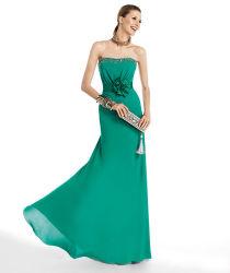 Funcy Bridesmaid Gowm Verde Casamento Chiffon Longo vestido Bridesmaid Cordão Flor guilhotina