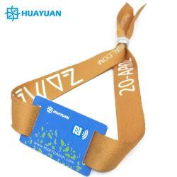 Braccialetto tessuto RFID Ultralight del Wristband del biglietto della tessile 13.56MHz MIFARE EV1 NFC del tessuto stampato dati variabili
