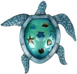 Blauwe van het Overzeese van het Glas het Hangen van het Decor van de Muur van de Schildpad van het Metaal Strand van het Beeldhouwwerk OpenluchtKunst voor de Tuin van het Huis van het Terras
