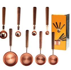 Nuevo estilo 8 piezas de acero inoxidable chapado en Cooper tazas de medir y medir el juego de cucharas