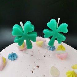 أربعة ورقة Clover كعكة شموع زخارف يقدّم حزب اللون الأخضر يخفوق عيد الميلاد طفل دش الأطفال فتاة طفل كيوبر كعكة توبر صنع الرغبة