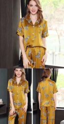 100% seda personalizada Charmeuse Imprime las mujeres de origen animal dormir, la Mujer Pijama, Pj Set