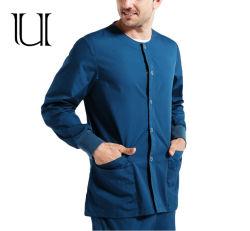 Установите подходящий случайным сшивания скобками 2PCS обмундирование женщин длинной втулки уплотнительное горловины единообразных блуза скраб куртка с Pocket