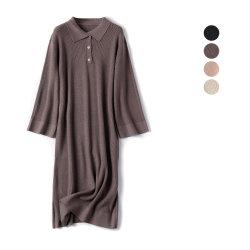 Fabrik-strickte Großhandelspolo-Stutzen Kleid-langes Hülsen-Form Desinger Strickjacke-Kleid