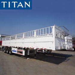 [تيتن] 3 محور العجلة 50 أطنان حائط جانبيّ سياج منفعة/شحن/بضائع [مولتيفونكأيشن] [سد بوأرد]/حارسة/شبكة [دروبسد] وتد حيوان/حبة نقل شاحنة [سمي] مقطورة