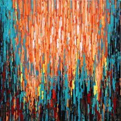 De kleurrijke Abstracte Reproductie van het Olieverfschilderij