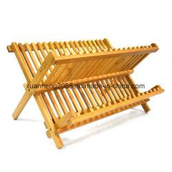 100% naturel bambou plat de niveau 2 de séchage - rack compact plat bambou drainer pliable - Plat de comptoir sécheur
