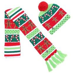 Voyant LED Beanie tricot jusqu'écharpe de chandail laid Beanie Foulards Foulards de vacances en bonneterie