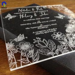 Inviti in bianco acrilici di cerimonia nuziale di saluto della scheda di plastica libera su ordinazione del posto
