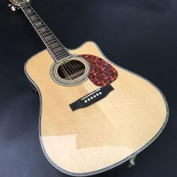"""공장 주문 음향 기타 41 """" 45의 D 20 번민 금 기계설비를 가진 실제적인 진주 상감세공 그리고 바인딩 음향 기타, Colorized 쉘 가장자리 음향 기타"""