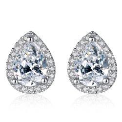 Bijoux de conception simple Ol Lady Waterdrop Zircon cubique Silver Earrings