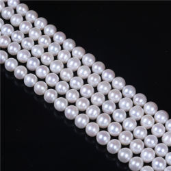 8mm 9mm AA Grade blanco perla de agua dulce de hebra floja