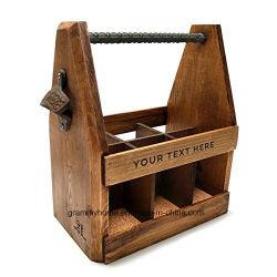 Portador de la cerveza de madera artesanal personalizada con abrebotellas