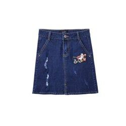 Broderie d'oiseaux de la fente d'une jupe de ligne de mesdames jeans robe