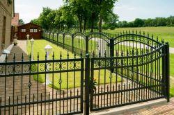 Galvanizado soldado Revestimiento en polvo negro valla de hierro forjado /Rancho / Jardín/Piscina cercas de acero con aplanado lanza