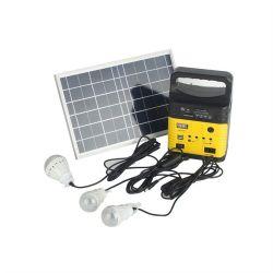 Générateur solaire Kit de système d'accueil d'éclairage 12V 10W avec lampes USB du panneau solaire