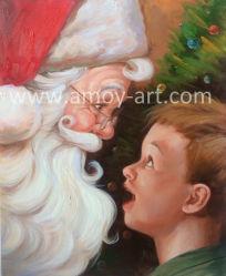لوحات سانتا كلوز الزيتية المصنوعة يدويا لزينة عيد الميلاد