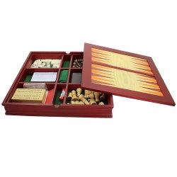 Frais de voyage en bois marron 7 en 1 : Jeu échecs, backgammon, Checker, des jetons de poker, jeux de cartes