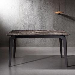 Alta calidad de la mesa de comedor modernos de madera rectangular con tapa de cristal (YA980E)