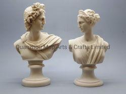 흉상 신 아폴로 & 여신 Artemis 다이아나 그리스 사람 던지기 대리석 조각품