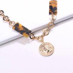 Мода украшения для женщин полой заявление циркуляр с изменяемой геометрией темперамент Cool стиле полимера Leopard подвесная цепочка