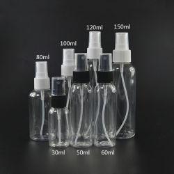 L'acqua 30ml 60ml 100ml 120ml 150ml delle estetiche rimuove la bottiglia di profumo di plastica dello spruzzo dell'animale domestico con la protezione fine dello spruzzo della foschia