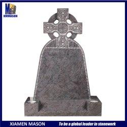 유럽 강직한 켈트 십자가 자주색 화강암 묘비