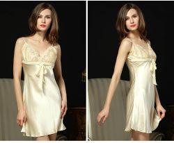 Vrouwen Lingerie V Neck Nightwear Pure zijde Sleepwear Lace Chemise Mini Teddy