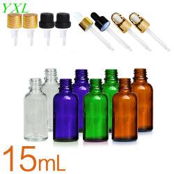 15ml Orange Vert clair Huile essentielle de l'emballage cosmétiques bouteille en verre avec couvercles et les droppers
